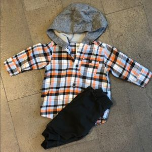 Carters hooded shirt and pant set never worn